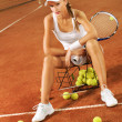 Beautiful girl tennis player — 图库照片