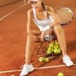 Beautiful girl tennis player — Stock Photo
