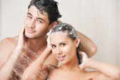 Couple in shower — Stock Photo
