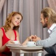 Couple have talking in restaraunt - Foto Stock