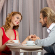 Couple have talking in restaraunt — Stock Photo