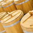 Stock Photo: Wood barrel roll for cereal