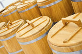 Wood barrel roll for cereal — Stock Photo