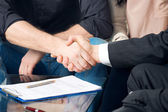 Close-up of two shaking hands — Stock Photo