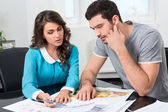 Couple is considering future apartment design — Stock Photo