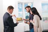 Couple is considering future apartment design — Stock Photo