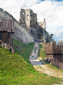 Fortification and chappel of The Castle of Beckov — Stock Photo