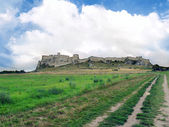 Field road to Spis Castle in summer — Stock Photo