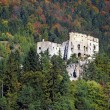Likava Castle ruin hidden in forest - Stock Photo