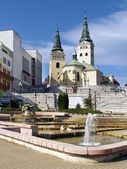 Church, theatre and fountain in Zilina — Stock Photo