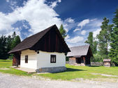 Rare wooden folk houses in Pribylina — Stock Photo