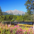 Nove Strbske Pleso and High Tatras Peaks — Foto de Stock