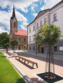 Church and County House in Dolny Kubin — Stock Photo