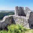 Ruined walls of the Castle of Cachtice in summer - Stock Photo
