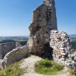 Ruined fortification tower of Cachtice castle - Stock Photo