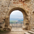 Outlook from ruined Spissky Castle - Stock Photo