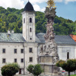 Church and Plague Column in Kremnica — Stock Photo