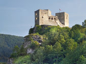 Ruins of Strecno Castle before sundown — Stockfoto