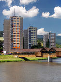 Colonnade bridge and flats in Bysterec — Stock Photo