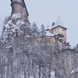 Rare view of Orava Castle in winter — Stock Photo