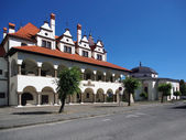 Town hall and church in Levoca — Stock Photo