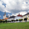 Main square in medieval Kremnica town — Stock Photo