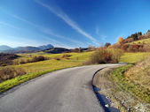 Autumn road at Liptov, Slovakia — Stock Photo