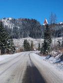 Winter road to High Tatras from Strba — Stock Photo