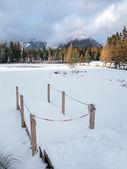 Frozen Nove Strbske Pleso, High Tatras — Stock Photo