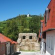 street with fortification and marian hill in levoca — Stock Photo