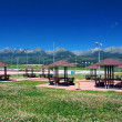 Shelters of car parking under High Tatras — Stock Photo