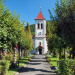 Park and church in Oravsky Podzamok — Stock Photo