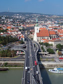 Bratislava as seen from SNP bridge — Stock Photo