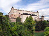 Zvolen Castle on forested hill — Stock Photo