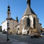 Town hall and Church in Banska Stiavnica — Stock Photo