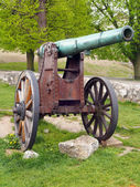 Authentic historical cannon in Trencin, Slovakia — Stock Photo