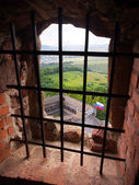 A view through a barred window, Lubovna castle, Slovakia — Stock Photo