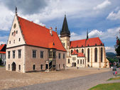 Basilica and Town Hall, Bardejov, Slovakia — Stock Photo
