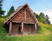 A Celtic log house, Havranok, Slovakia — Stock Photo