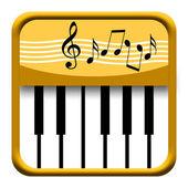 Золотой значок фортепиано с Музыкальные символы — Стоковое фото