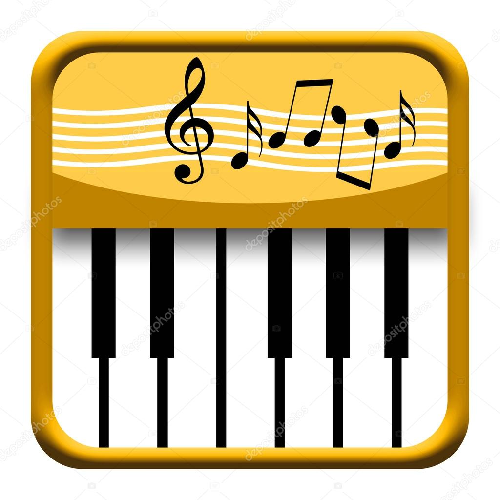 Golden piano icon with musical symbols — Stock Photo ...