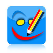 Coloring pencil drawing icon — Stock Photo