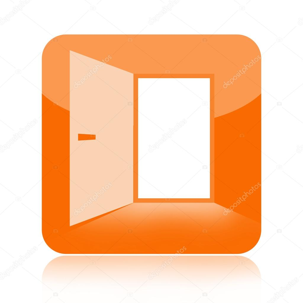 Open Image Icon Open Door Glossy Icon Isolated
