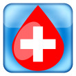 Medical icon with blood drop and cross — Stock Photo
