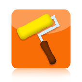 Icono casa renovación con rodillo de pintura — Foto de Stock