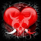 Srdce a lebka — Stock fotografie