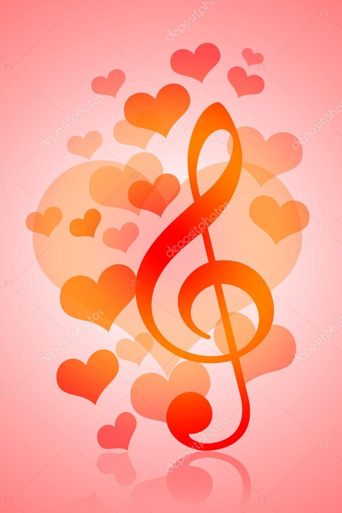 Valentines Day background with love heatrs and music symbol — Stock Photo #18824169