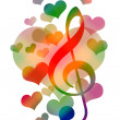 Stock Photo: Hearts Love Music