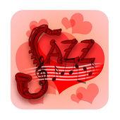 Corazones de amor y música de jazz — Foto de Stock