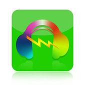 Music in headphones audio icon — Stock Photo